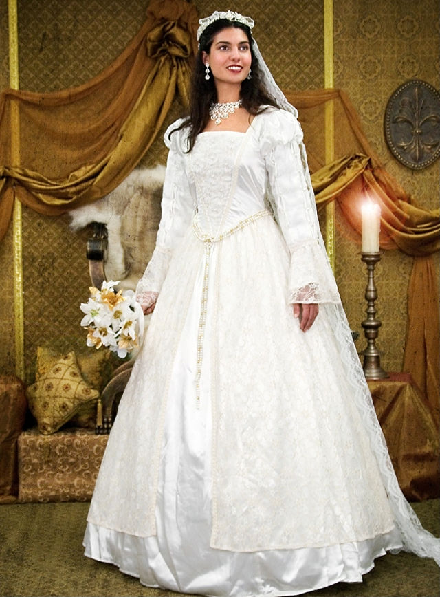 Costume - Wedding Dress with Lace - TheVikingStore.co.uk